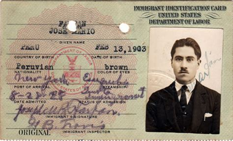 Titanic Menus by Immigrant Id Card For Non Quota Immigration Visa Gg Archives