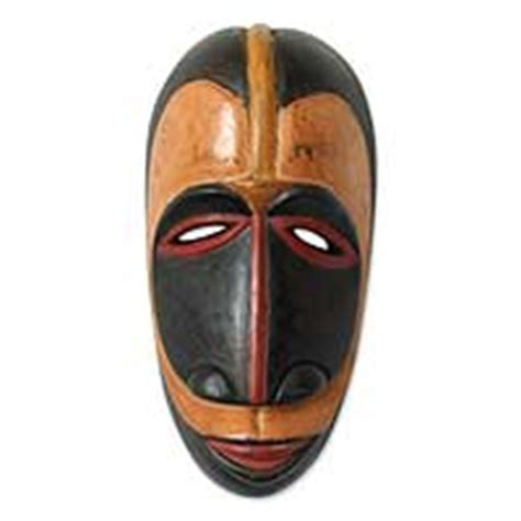 Gemstone Home Decor by Fair Trade Ivoirian Wood Mask Guro Wisdom Novica