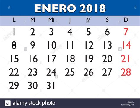 Calendario 2018 Enero January Month In A Year 2018 Wall Calendar In