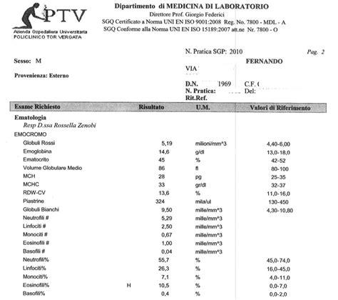 reuma test valori di riferimento analisi sangue