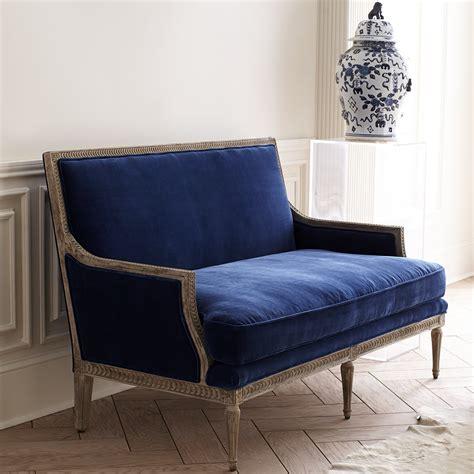 velvet settee sofas blue velvet settee wisteria