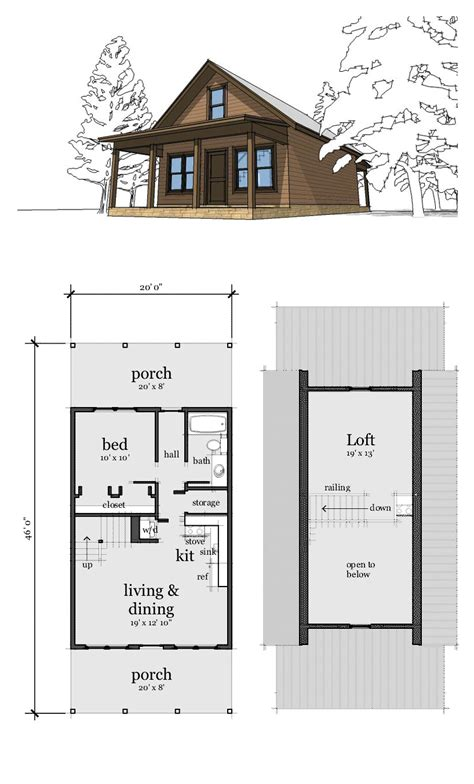 tiny cabin floor plans narrow lot home plan 67535 total living area 860 sq ft