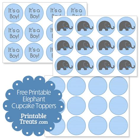 Baby Shower Card Cupcake Template by Free Printable Elephant Cupcake Toppers Printable Treats