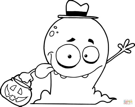 goofy ghost goes trick or treating coloring page free