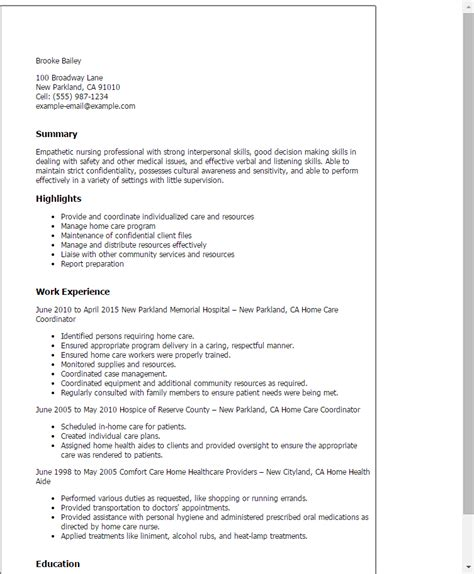 Resume Exles For Home Health Nurses 2016 Patient Care Coordinator Resume Sle Slebusinessresume Slebusinessresume