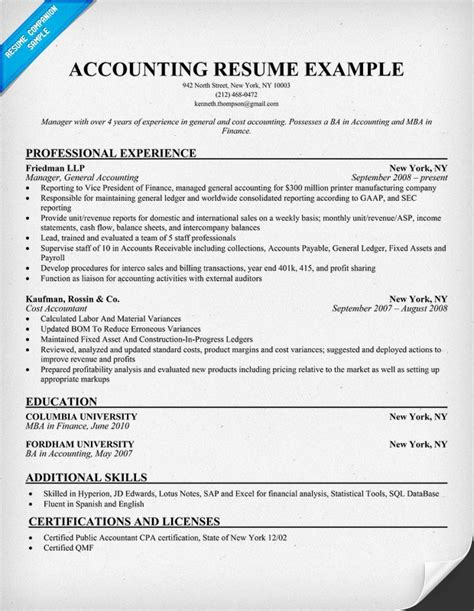 exle accounting resumes resume accounting exles exles of resumes