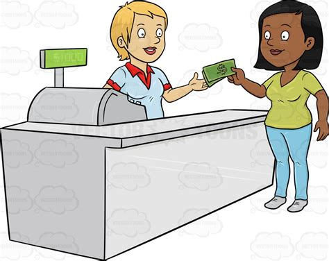 Free Search Without Paying Clipart A Black Paying The Cashier One Thousand Dollars