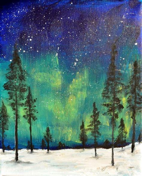 acrylic painting northern lights northern lights original painting acrylic on 8 x 10 canvas