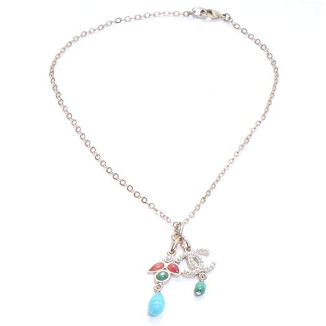 chanel beaded necklace chanel pearl beaded cc necklace light gold 50940