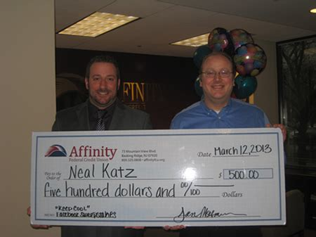 Credit Union Sweepstakes - bridgewater resident neal katz wins 500 from affinity federal credit union quot keep cool