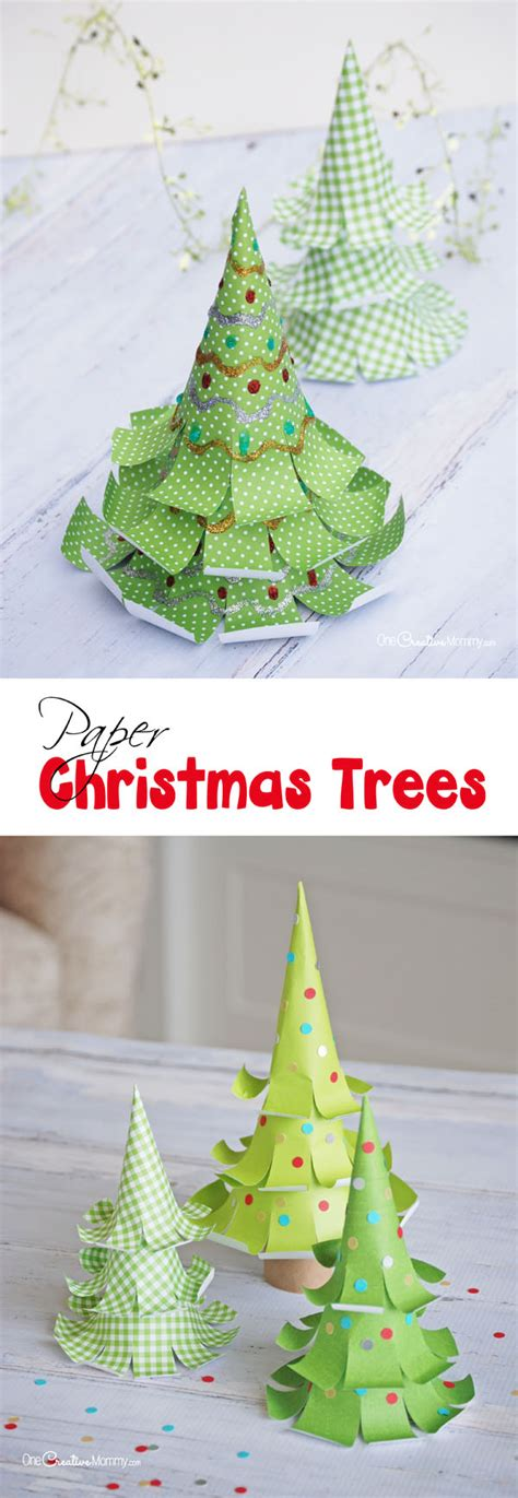 paper christmas treecraft the cutest paper trees onecreativemommy