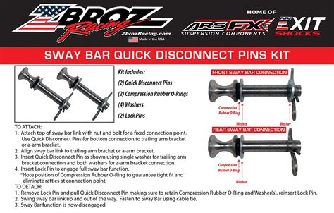 sway bar quick disconnect pull pins  rzr xp  rzr
