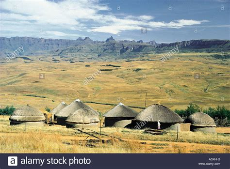 zulu homes and cathedral peak drakensberg mountains south