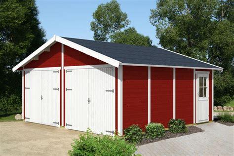 garage aus holz garage skanholz 171 visby 187 doppelgarage 28 mm holzgarage
