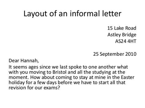 Informal Letter Questions informal letters