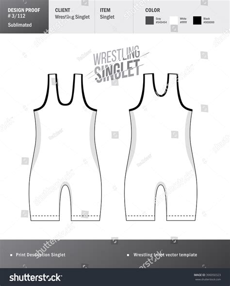 singlet vector template wrestling tricot design stock