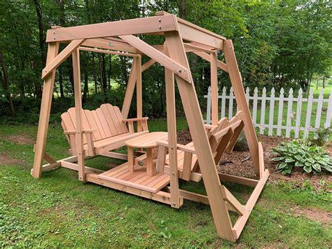 framed  seat cedar swing  center platform table