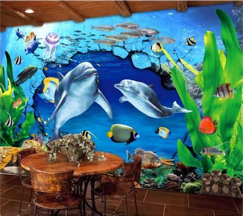 wallpaper dinding laut kustom mural foto 3d wallpaper dolphin dunia bawah laut