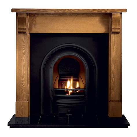Pine Fireplaces by Gallery Bedford Pine Fireplace With Coronet Cast Iron Arch