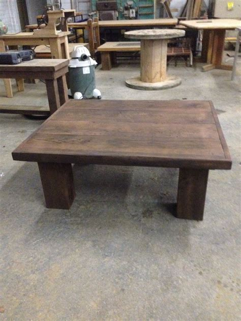 stained chunky leg coffee table reclaimed wood