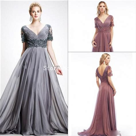 Formal Korea Dress Gray 1 new plus size of the dresses gray v neck formal evening dress gowns
