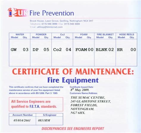 extinguisher certificate template catering for buffets and events
