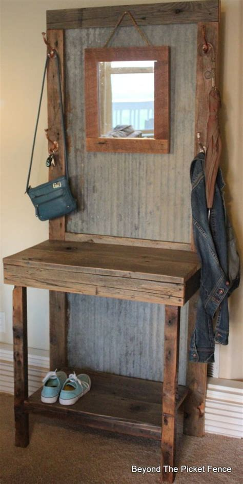 Entryway Storage Bench Plans Free by Hometalk Rustic Reclaimed Hall Tree