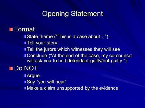 trial themes exles opening statement exles defense