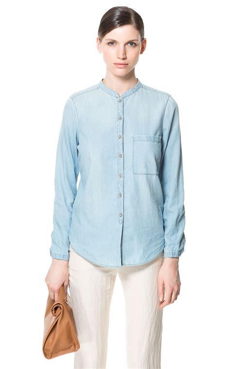 Collar Shirt 1 zara mao collar denim shirt in blue lyst