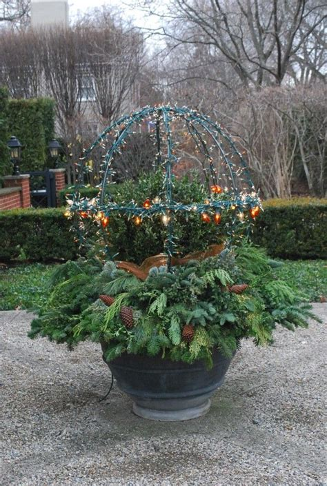 outdoor winter planter ideas lighted sphere deborah silver detroit garden works branch studio decorating