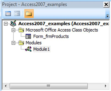 tutorial visual basic access 2007 ms access 2007 project explorer in vba environment