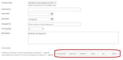sharepoint 2013 approval workflow approval process remove rejected button in approving