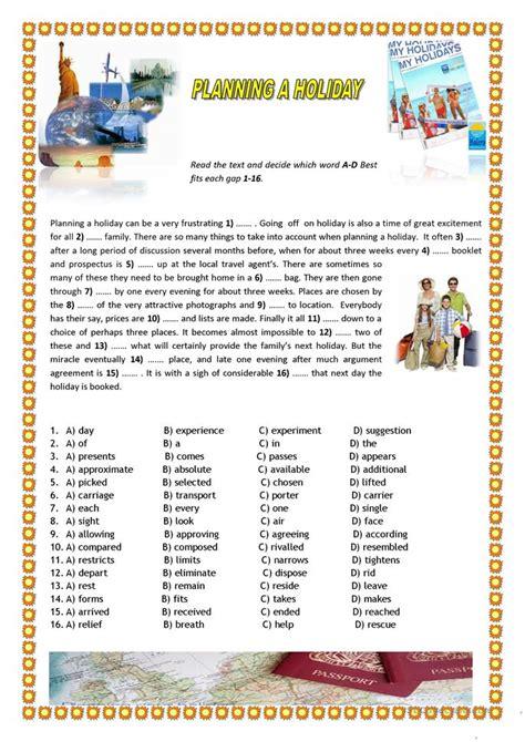 planning a holiday worksheet free esl printable