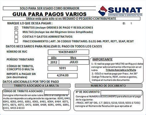 guia de pagos varios 2016 guia pagos varios sunat formulario 1662 azratem el