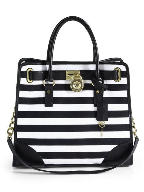 7886 Black White Tote Bag lyst michael michael kors hamilton striped canvas tote in black