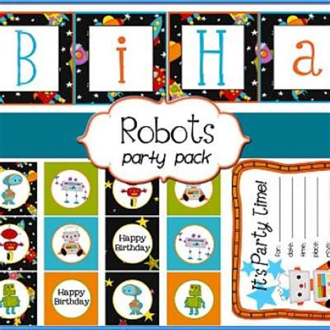 free printable robot party decorations robot themed birthday party printables free tip junkie