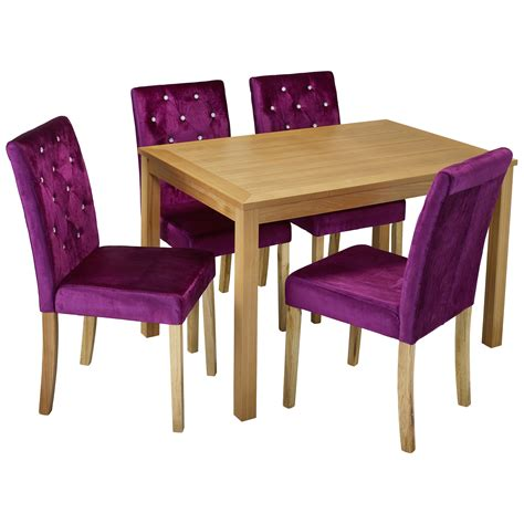 Oak Dining Table And Chair Set With 4 Velvet Fabric Seats