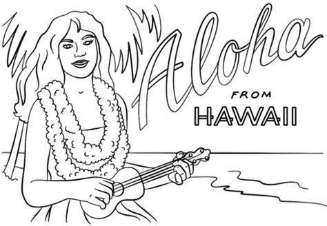 disegni fiori hawaiani disegno di ragazza hawaiana con e ukulele da colorare