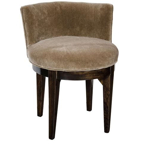 Swivel Vanity Stool Deco Swivel Vanity Stool In Ebonized Walnut And Smoked Topaz Mohair At 1stdibs