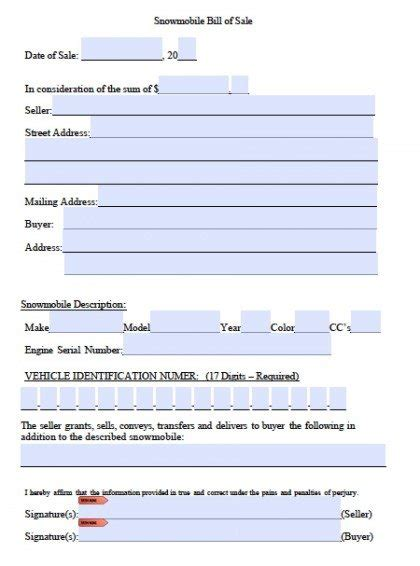 snowmobile bill of sale free snowmobile bill of sale form pdf word doc