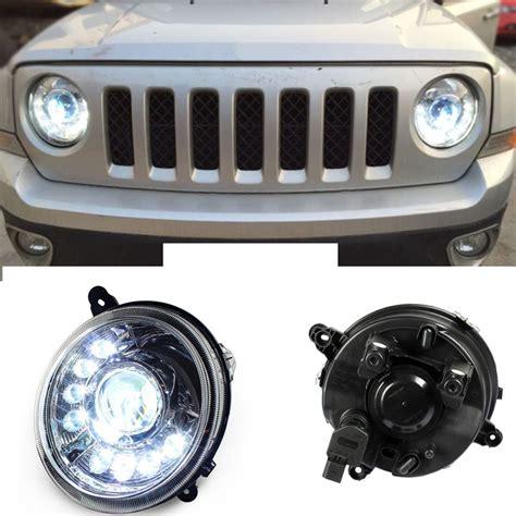 Jeep Patriot Headlights 2pcs Xenon Headlights 8 Led Drl Black Housing For Jeep