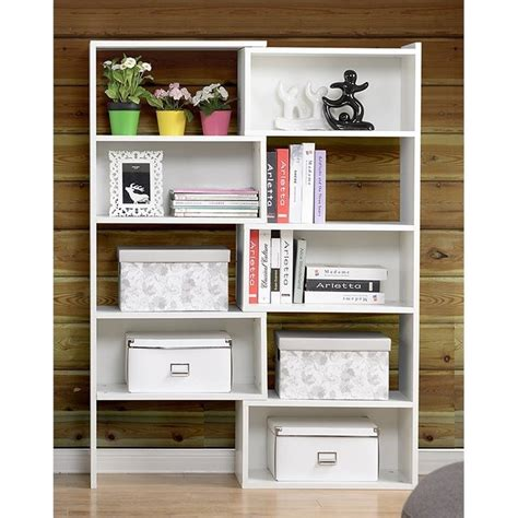 expandable shelving bookcase in white zh1415812w