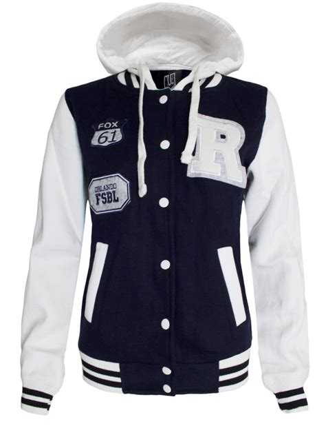 Hooded Baseball Jacket womens baseball jacket hooded r varsity bomber