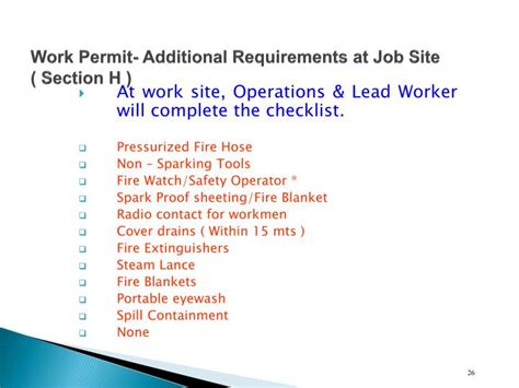 c section requirements ppt training program on permit to work procedure