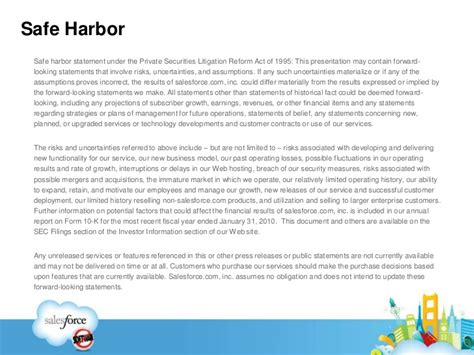 Introduction To Force Com Application Distribution Safe Harbor Statement Template