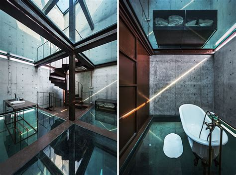 house see through concrete tower house with see through floors modern