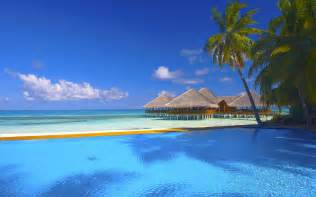 Sea ocean beach huts palm tree palm trees pool deck sky clouds sand