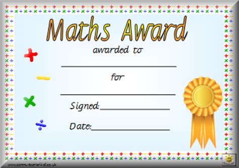 math certificate template awards