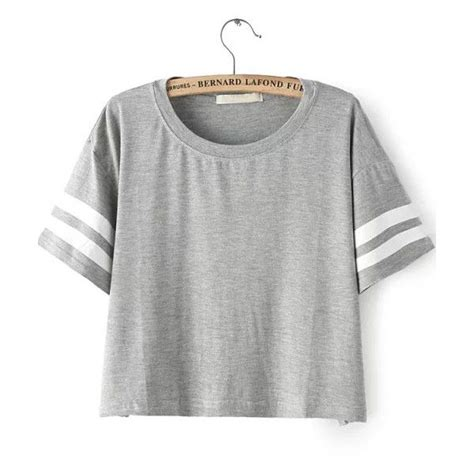 Plain Stripe Crop Rajut shein sheinside grey sleeve striped crop t shirt 12 liked on polyvore featuring tops