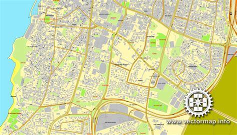 tel aviv map tel aviv israel printable vector map city plan